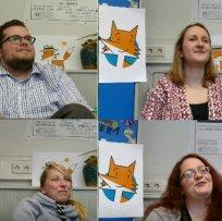 """Nico (nf), Annika (as), Miriam (ml) und Lena (lw) sind """"Fux"""", die Fuxzubis in unseren Socialmedia."""