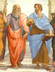 Rafael: La scuola di Atene (Ausschnitt mit Platon und Aristoteles)