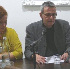 Zentralbibliothek am 1.10.2015 als Gast und Gastgeber in der Patisserie Tanger. Nadia Yakin (links) und Christoph Leisten.