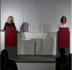 """Am 18.11.2015 waren Marion Tauschwitz und Sybille Kreck zu Gast beim """"Literarischen Schnellkurs"""" zu Selma Merbaum in der Zentralbibliothek."""