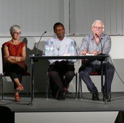 """Am 07. 09. 2016 waren im Rahmen der Reihe """"Wortwelt"""" zum Thema: """"Im Fokus Afrika"""" Fiston Mwanza Mujila mit seinem Buch """"Tram 38"""" und Hermann Schulz Gast in der Zentralbibliothek."""