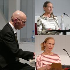 """Am 14.3.2018 waren die Schauspielerinnen Christiane Lemm und Petra Kuhles zu Gast in der Zentralbibliothek. Mit musikalischer Untermalung gaben sie Auszüge aus """"Kind aller Länder"""" von Irmgard Keun zum Besten."""