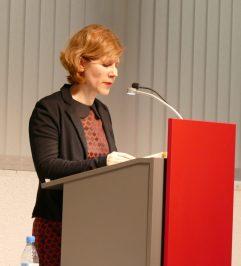 """Carolin Hagebölling war zur Premierenlesung von """"Ein anderer Morgen!"""" am 05.04.2018 in der Zentralbibliothek zu Gast."""