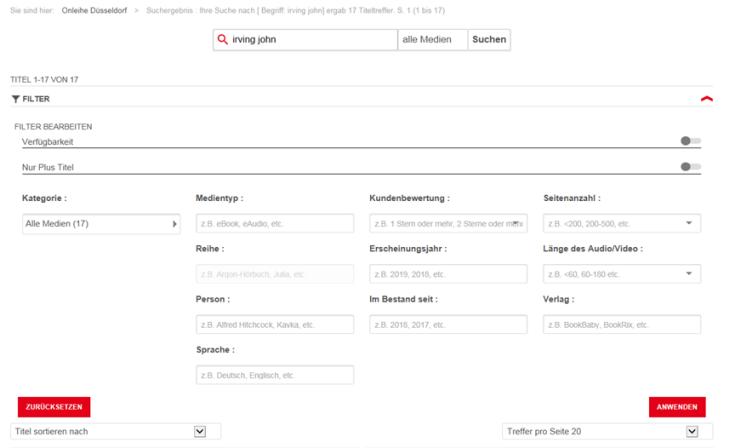 Filtermöglichkeiten der Sucherergebnisse auf der Onleihe-Webseite